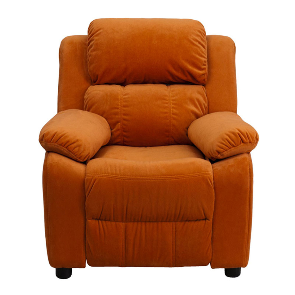 Flash Furniture Deluxe Heavily Padded Contemporary Orange Microfiber Kids Recliner with Storage Arms [863-Bt-7985-Kid-Mic-Org-Gg] 59e46013e224613cbd3843a0