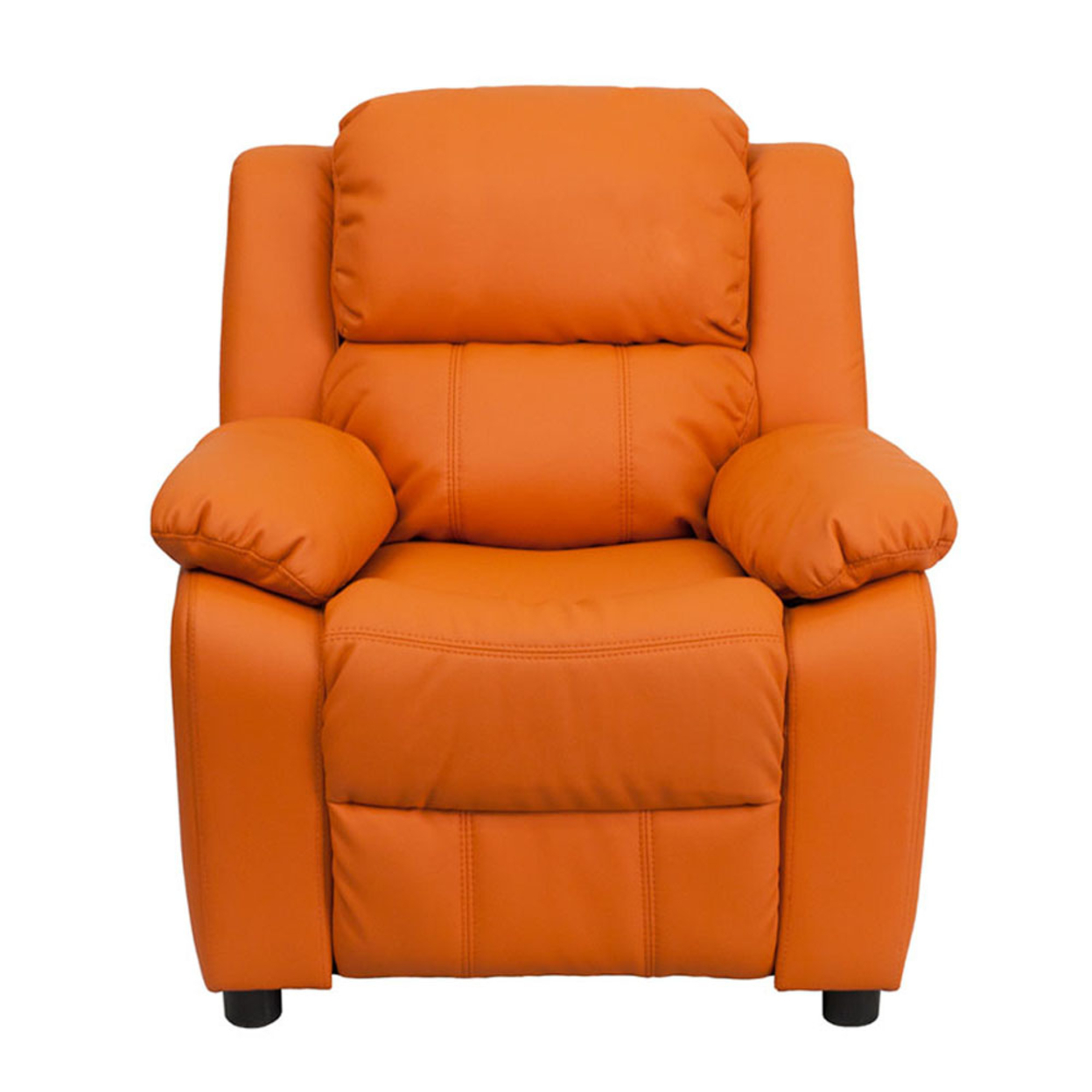 Flash Furniture Deluxe Heavily Padded Contemporary Orange Vinyl Kids Recliner with Storage Arms [863-Bt-7985-Kid-Orange-Gg] 59e460132a00e43b6679add1