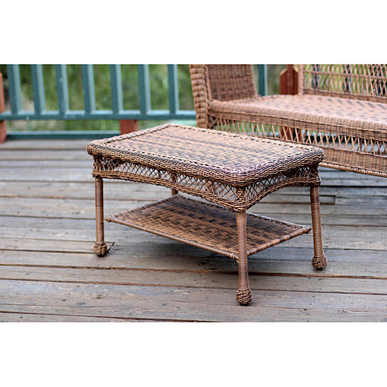 buy jeco patio furniture wicker coffee table white by
