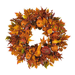 "Nearly Natural 28"" Harvest Wreath Fall"