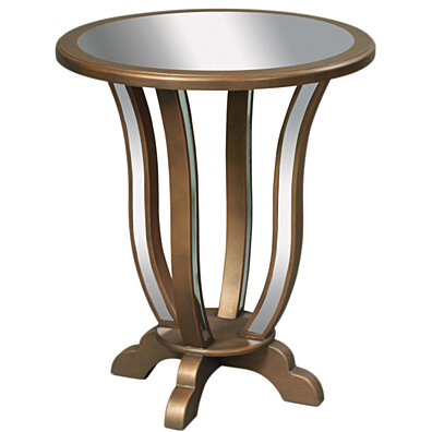 Sterling Manama End Table   Clear Mirror   Gold Leaf