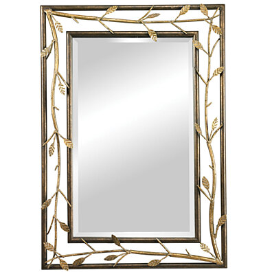 Sterling Rhyle Metal Frame Branch Framed Mirror   Bakewell Bronze   Gold