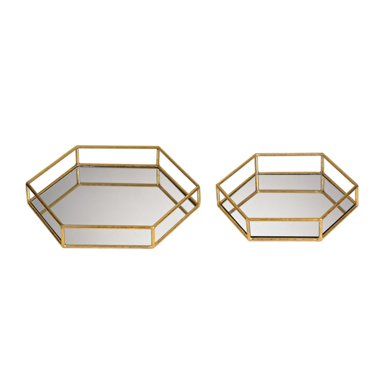 Sterling Set Of 2 Mirrored Hexagonal Trays - Gold 58de20982a00e47e7416c8e9