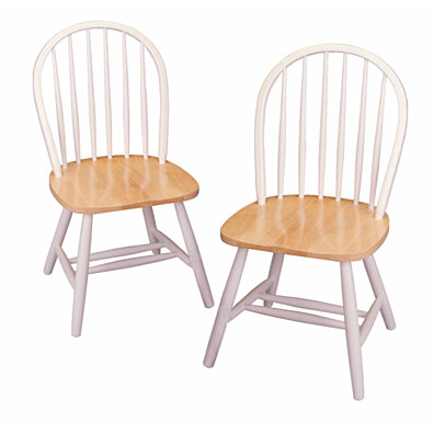 Winsome Home Decor Set of 2 Windsor Chairs - Assembled - Natural And White