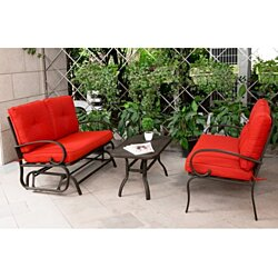 3PC Wrought Iron Conversation Set Chairs w/ Table