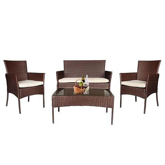 4 PC Patio Rattan Set Wicker Furniture Conversation Sofa Sectional Loveseat  Lawn