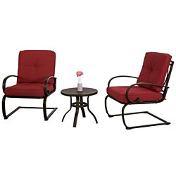 Wrought Iron Bistro Set  Brick Red