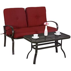 2 PC Wrought Iron Loveseat with Square Table