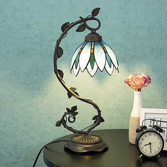 Buy Tiffany Style Table Lamp Accent Flower Shape Stained Glass Home