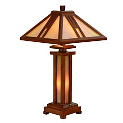Tiffany Style Wooden Table Lamp Antique Double Light Lit Base Home Decor