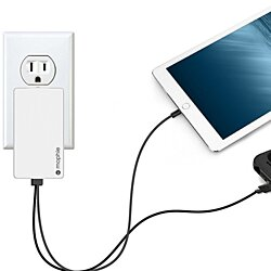 mophie Dual Port High Power (4.2 Amp) Wall Travel Charger , Powerstation, Tablets & All USB Powered Devices - White
