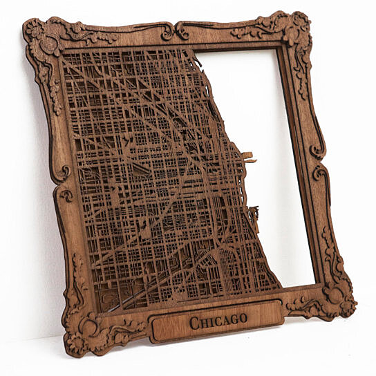 Buy Chicago Laser Cut Wood Map With Scroll Frame- 10