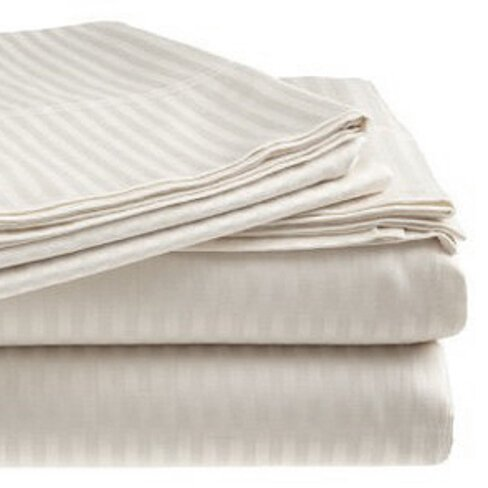 300 Thread Count 100% Cotton Sateen Dobby Stripe Sheet Set