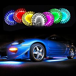 Zone Tech 4x 7Color LED Strip Under Car Tube Underglow Underbody Neon Lights 12W