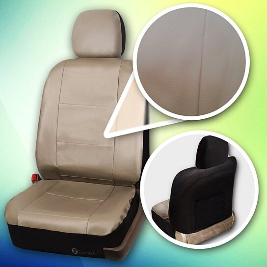buy zone tech luxury universal fit interior decor pu leather car seat cover beige by comfort. Black Bedroom Furniture Sets. Home Design Ideas