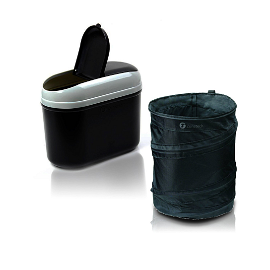 Buy zone tech traveling portable black collapsible pop up leak proof car trash can and black - Collapsible garbage can ...