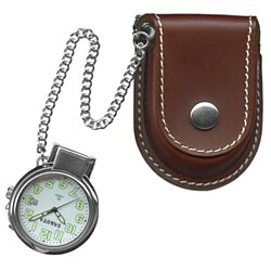 Leather Pouch Pocket Watch with Magnifying Lens