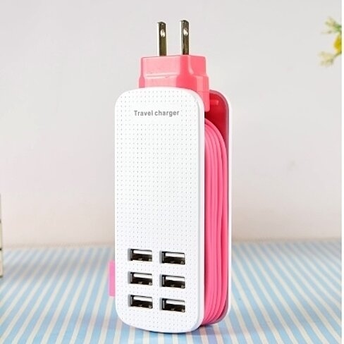 Smart Travel Charger: 6 Port USB + 5 Foot Cable