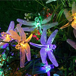 Solar Outdoor Dragonfly String Lights