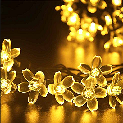 Wireless Solar LED Cherry Blossom Flower Garden String Lights - Charming and Weatherproof!