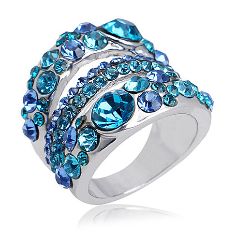 18k White Gold Austrian Crystal GP Ring in 2 Styles