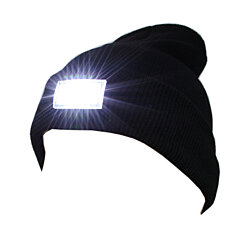 5 LED Lighted Cap Hat Winter Warm Beanie Hunting Camping Fishing Running-Black