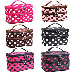 Adorable Polka Dotted Two-Layer Cosmetic Makeup Bag-6 Colors To Pick From