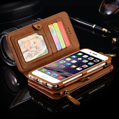 All-In-One Multi-Functional Leather Wallet Style iPhone 6/7 Case (6 Colors)