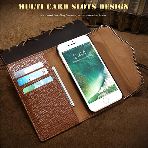 Luxury Deluxe Leather Wallet Case iPhone 7 or 6