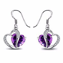 Purple Crystal Zircon Heart Drop Earrings