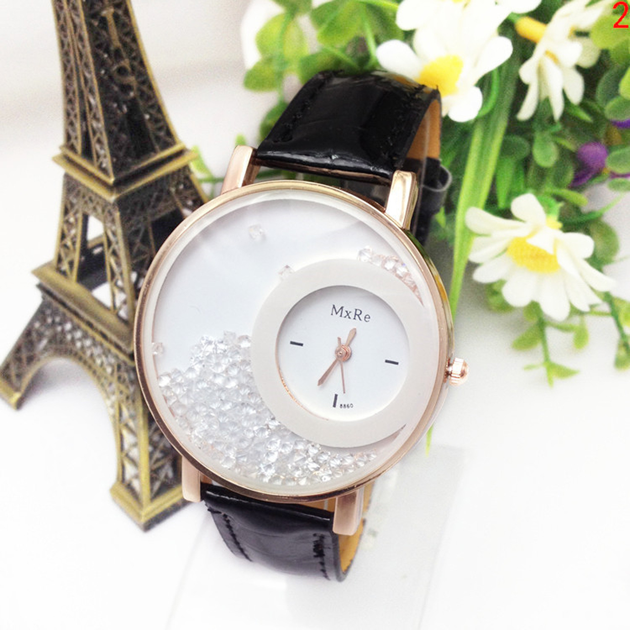 Trendy Fashion Watch With Moving Crystals Comes In 8 Different Colors 56a069f84e3d6fd56f8b4601