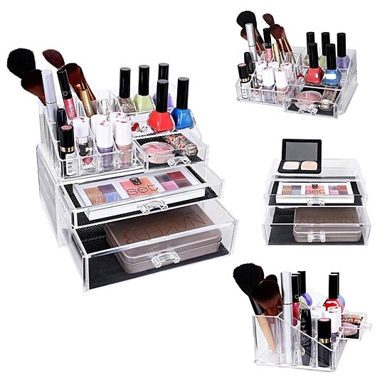 Makeup Organizer Large Drawer Countertop Cosmetic Jewelry Storage Display  Boxes 2 Pieces Set