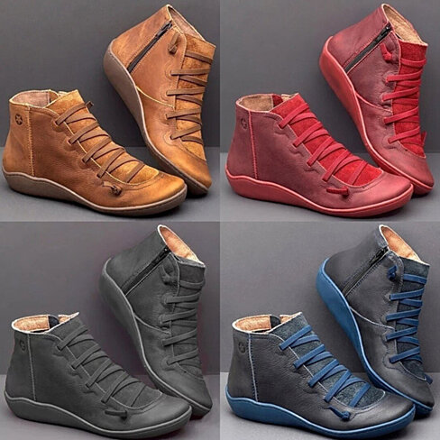 Flat Leather Lace Up Booties, Multiple Colors