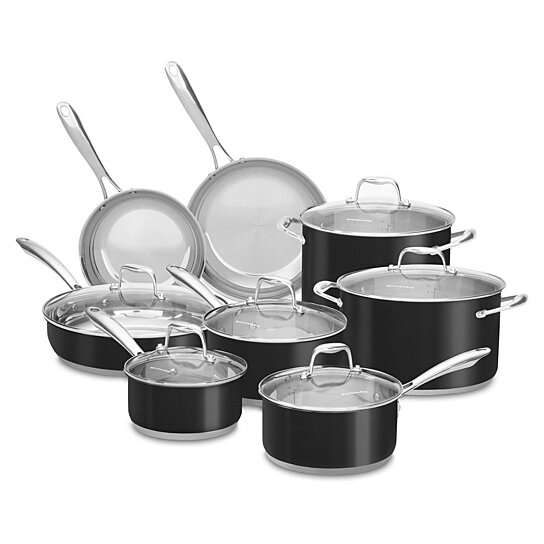 Buy kitchenaid 14 piece stainless steel cookware set 18 for Pentole kitchenaid