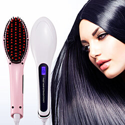 Hair Straighter Detangling Brush with LED display