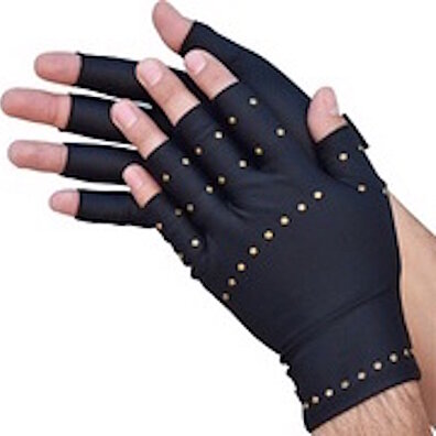 Unisex Half Finger Copper Gloves  - Black