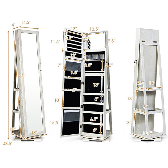 Buy Costway 360degree Rotatable Jewelry Cabinet 2 In 1 Lockable Mirrored Organizer By Costway On Dot Bo
