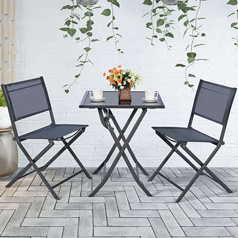 Costway 3PCS Bistro Set Garden Backyard Table Chairs Outdoor Patio Furniture Folding