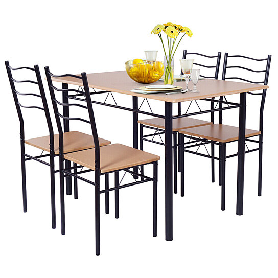 Buy Costway 5 Piece Dining Table Set With 4 Chairs Wood Metal Kitchen Breakfast Furniture By Costway On Dot Bo