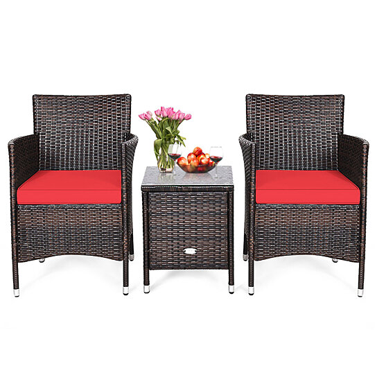 Buy Costway Outdoor 3 PCS PE Rattan Wicker Furniture Sets Chairs Coffee Table Garden Red\Blue\Beige\Gray By Costway On Dot & Bo