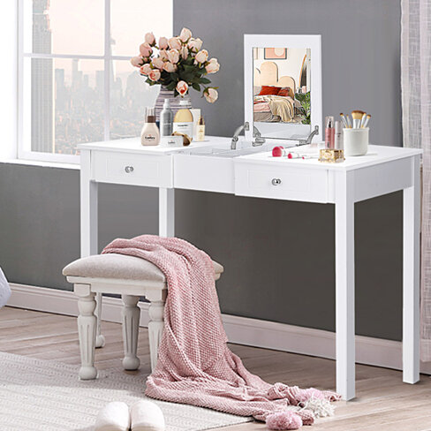 Costway Vanity Table Dressing Table Flip Top Desk Furniture White
