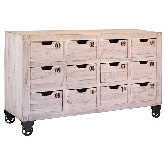 Buy Bayshore 12 Drawer Countdown Console / Dresser   Distressed White By  Crafters And Weavers On Dot U0026 Bo
