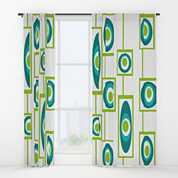 Mid Century Modern Curtain Panel - Kelly