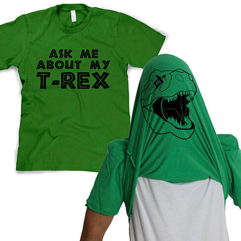 Ask Me About My T-Rex Flip T-Shirt (Men's, Women's, Kids; 4 color options)