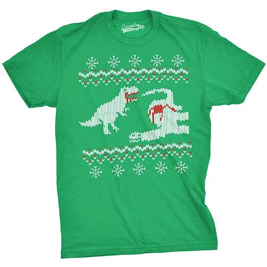 buy dinosaur snack ugly christmas sweater tshirt by crazydogtshirts on opensky - Ugly Christmas Sweater Dinosaur