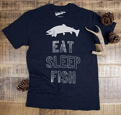 Eat Sleep Fish T Shirt (Men's (4 Color Options), Women's & Kid's (Navy)