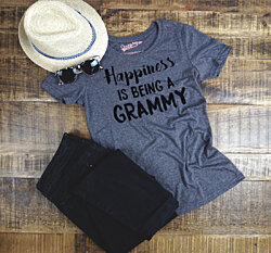 Happiness is Being a Grammy T-shirt (Women's Slim Fit and Unisex Sizes; Heather Grey)