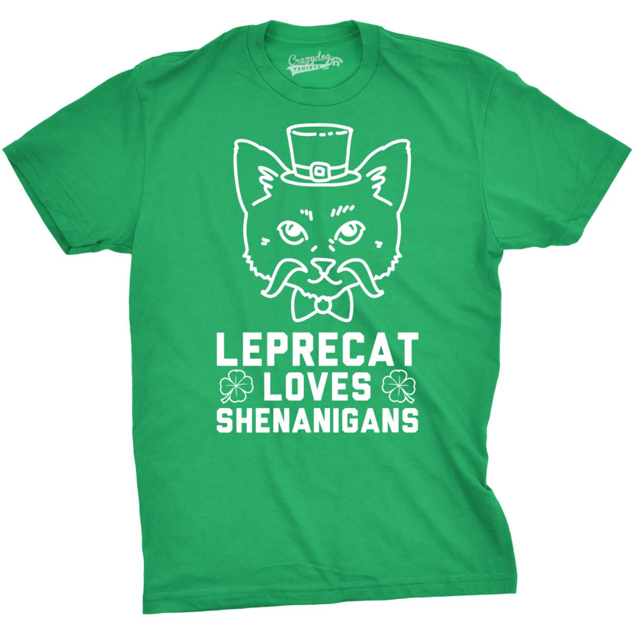 Leprecat Loves Shenanigans T-shirt - Mens Small 589a43612adf921d7514d51b