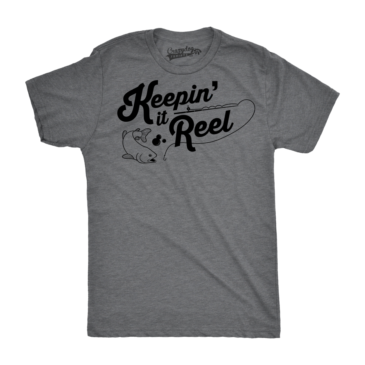 Mens Keepin It Reel Tshirt Funny Cool Fishing Bass Outdoors Sporting Tee