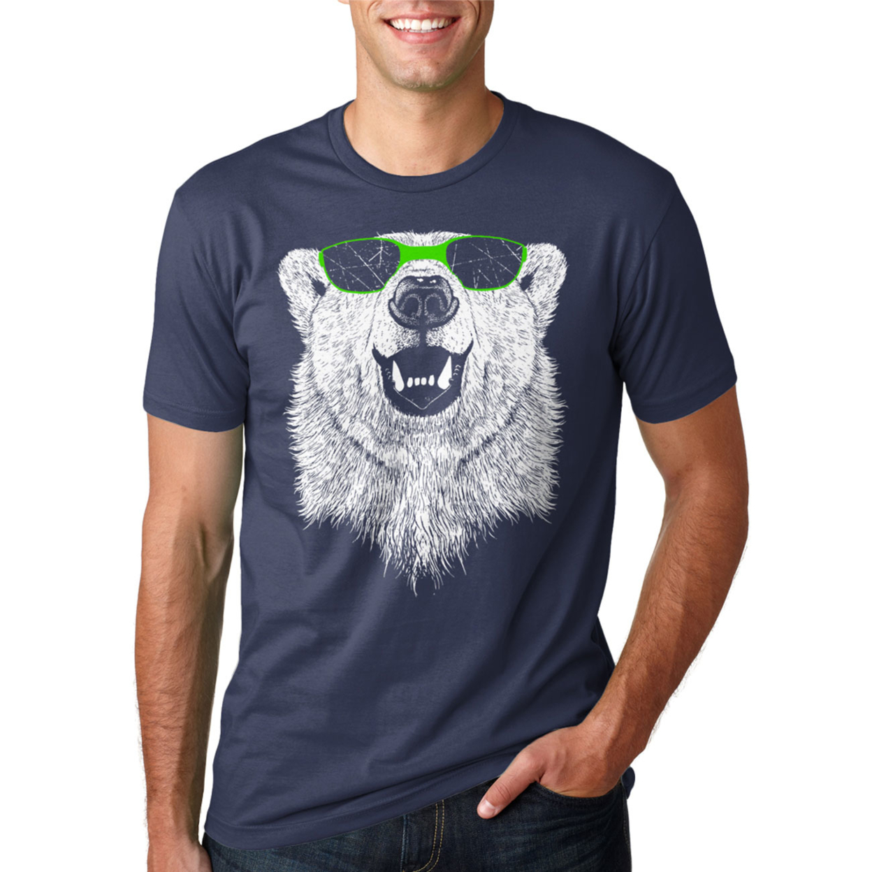 Polar Bear Wearing Sunglasses T-shirt Mens Small